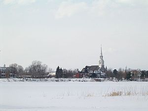 Chambly, Quebec - Chambly's Church St-Joseph, viewed in winter from the Basin