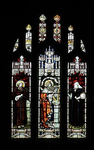 Edmund Prys - Memorial window in St Twrog's Church, Maentwrog. Prys is pictured on the right, with the caption Psalmist of Wales