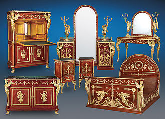 Farouk of Egypt - King Farouk Seven-Piece Empire Bedroom Suite crafted by the Parisian ébéniste, Antoine Krieger