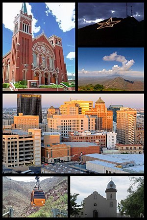 El Paso, Texas - From upper left: The Cathedral of Saint Patrick, star on the Franklin Mountains, North Franklin Peak, downtown El Paso skyline, Wyler Aerial Tramway, Ysleta Mission