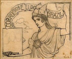 O Comércio - Estudo para selo integrante da coleção vencedora do concurso dos Correios de 1904