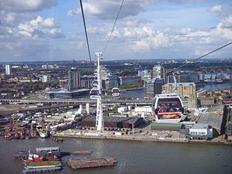 Emirates Air Line (cable car) - View from a car towards ExCeL