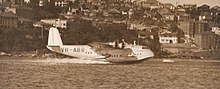 Empire flying boat Coolangatta landing at Rose Bay, Sydney 1938.jpg