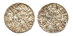 Chichester - AR penny, minted in Chichester under Cnut the Great between 1024-1030 AD.  Moneyer: Leofwine.