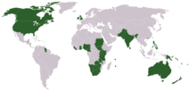 Map of countries with English as majority or national language.