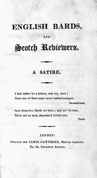 English Bards and Scotch Reviewers - 1809 first edition title page, James Cawthorn, London.