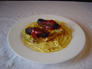 English sauage egg spaghetti