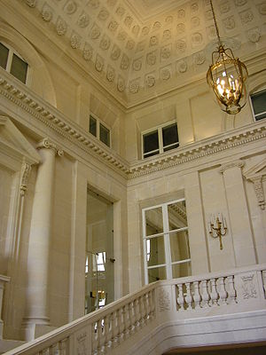 Château de Bénouville - The monumental staircase hall, capped with high coffered coves