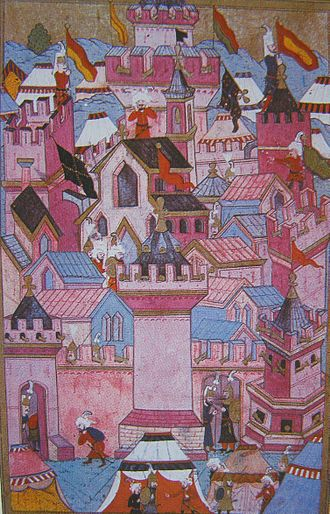 Mu'adhin - An Ottoman Muezzin proclaims the Adhan after their victory during the Siege of Esztergom (1543).
