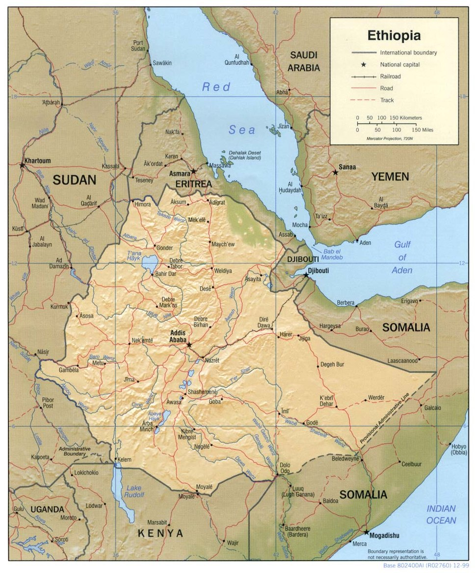 Ethiopia shaded relief map 1999, CIA