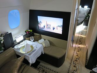 "First class (aviation) - Etihad Airways' ""The Residence"" suite. Each of Etihad's ten Airbus A380s have a single ""Residence"" installed in addition to standard first class suites."