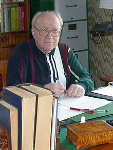 Color photo of Dynkin in his office, circa 2003