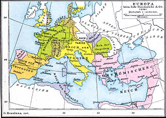 Theoderic the Great - The Ostrogothic Kingdom (in yellow) at the death of Theoderic the Great (526AD)