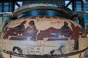Heracles - Greek mythology influenced the Etruscans. This vase at Caere shows King Eurytus of Oechalia and Heracles in a symposium. Krater of corinthian columns called 'Krater of Eurytion', circa 600 B.C.