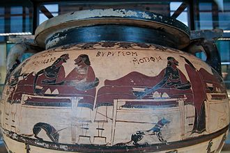 Caere - Example of Greek-style pottery in Caere. Eurytus and Heracles in a symposium. Krater of corinthian columns called 'Krater of Eurytus', circa 600 B.C.