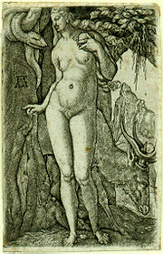 Heinrich Aldegrever's Eve, 1540. A rare early example of pubic hair in northern European art.