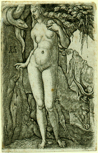 Heinrich Aldegrever - Eve with a Stag, c.1540