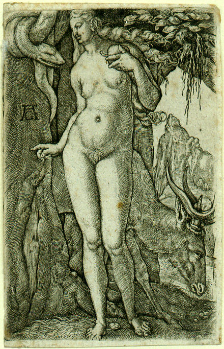 Heinrich Aldegrever's Eve, 1540; a rare early example of pubic hair in northern European art - Pubic hair