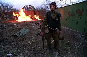 Battle of Grozny (1994–95) - A Chechen fighter during the battle for Grozny, January 1995.
