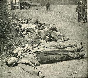 Harris Farm Engagement - Confederate dead lined up for burial at the Alsop farm May 19, 1864