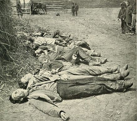 Dead Confederate soldiers. 30% of all Southern white males 18-40 years of age died in the American Civil War. EwellsDeadSpotsylvania1864crop01.jpg