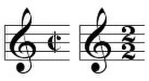 Alla breve - Examples of time signatures for alla breve.