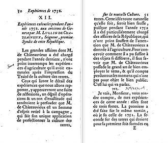 Michel Lullin de Chateauvieux - M. de Châteauvieux's letter published as article in Duhamel (1753)