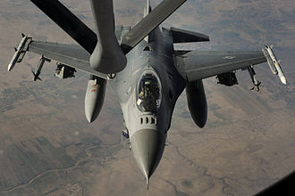 American-led intervention in the Syrian Civil War - An F-16 Fighting Falcon being refueled after an airstrike on ISIL targets in Syria