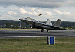 F-22A Raptor of the 95th FS lands at Spangdahlem Air Base in August 2015.jpg