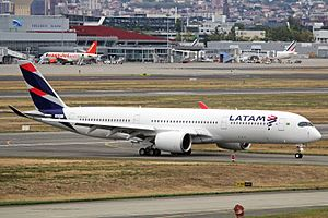LATAM Airlines Group - A LATAM Brasil Airbus A350-900 at Toulouse Blagnac International Airport in 2016.
