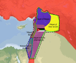 Franco-Syrian War - Map of the Arab Kingdom of Syria, declared on 8 March 1920