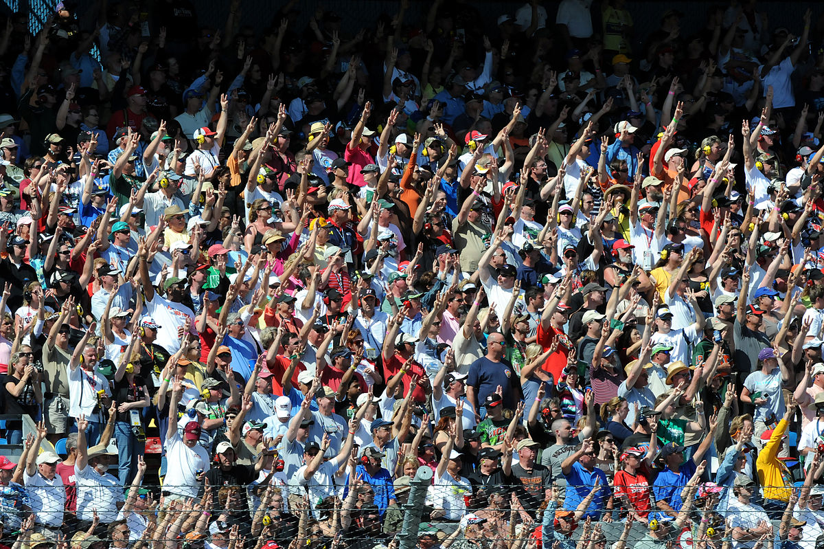 Fans holding 3 fingers in 2011 Daytona 500 in honor for Dale Earnhardt.jpg