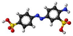 Ball-and-stick model of the Fast Yellow AB molecule