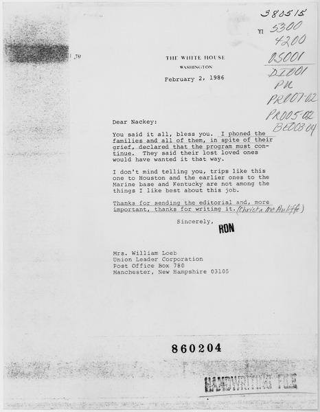 File:February 2, 1986 Letter from Ronald Reagan to Mrs. William Loeb, Regarding the Space Shuttle Challenger Accident - NARA - 198440.tiff