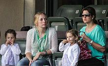 Federer familie naar boord te Kijken in Indian Wells, 2012