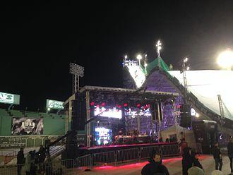 Polartec Big Air at Fenway - Concert stage inside Fenway at Polartec Big Air competition