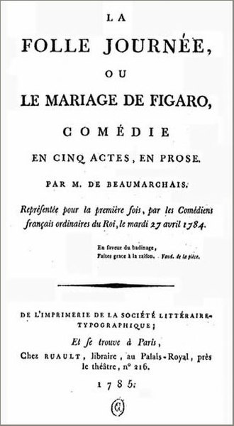 The Marriage of Figaro (play) - Title page from the first edition of The Marriage of Figaro