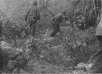 Battle of Hellzapoppin Ridge and Hill 600A - US Marines clear a Japanese position on Hill 600A