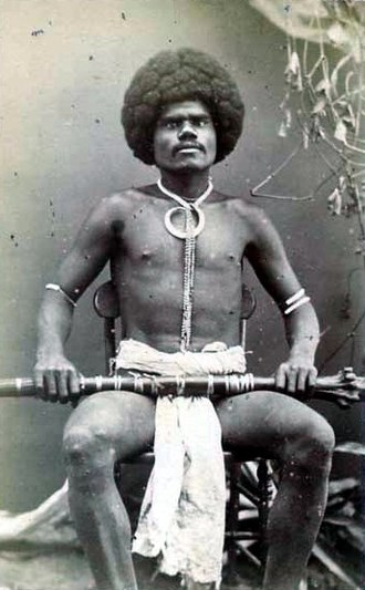 Fiji - A Fijian mountain warrior, photograph by Francis Herbert Dufty, 1870s.