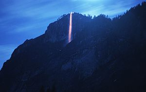 Yosemite Firefall - Long-exposure photograph of the Firefall taken from the Ahwahnee Meadow