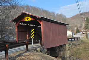 National Register of Historic Places listings in Wetzel County, West Virginia - Image: Fish Creek Covered Bridge Side View