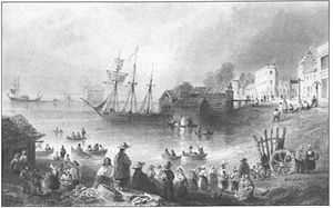 Farmers' Storehouse Company - Fish Market, Toronto, 1838 with Farmers' Storehouse in the background