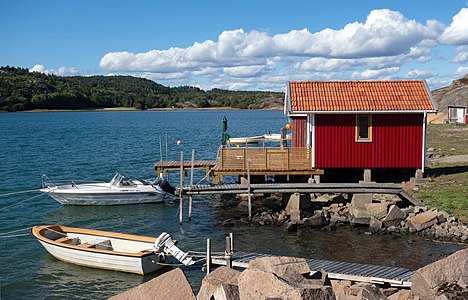Fishing hut, jetties and boats in Loddebo, Lysekil, Sweden