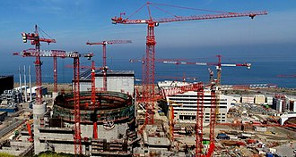 "Nuclear renaissance - EDF has said its third-generation EPR Flamanville 3 project (seen here in 2010) will be delayed until 2018, due to ""both structural and economic reasons,"" and the project's total cost has climbed to EUR 11 billion in 2012. Similarly, the cost of the EPR being built at Olkiluoto, Finland has escalated dramatically, and the project is well behind schedule. The initial low cost forecasts for these megaprojects exhibited ""optimism bias""."