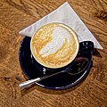 Flat white coffee at Highdown Gardens, Worthing, West Sussex, England.jpg