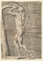 Flayed man arms raised holding the branch of a tree MET DP812745.jpg