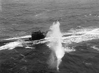 Fleet Air Arm Attack a U-boat, during a Convoy To Russia, 3 April 1944 A22859.jpg