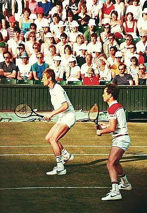 John McEnroe - McEnroe with Peter Fleming (left) at Wimbledon