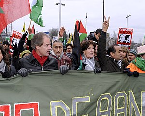 Harry van Bommel - Gaza demonstration Amsterdam, January 3, 2009, with Harry van Bommel (left) and activist Gretta Duisenberg (right)