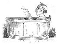 Im Bade, Illustration aus Der Staatshämorrhoidarius in der Wochenschrift Fliegende Blätter, 1845 (Quelle: Wikimedia)